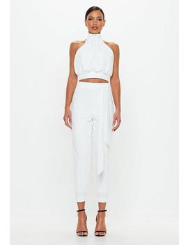 Peace + Love Ivory Belted Tapered Trousers by Missguided