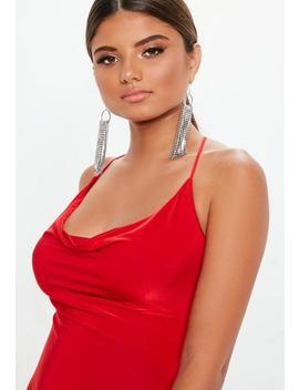 Red Slinky Cowl Maxi Dress by Missguided