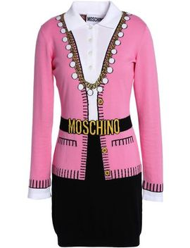 Intarsia Cotton Mini Dress by Moschino
