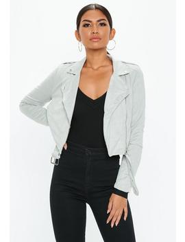 Tall Blue Faux Suede Biker Jacket by Missguided