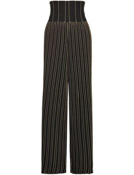 Pleated Metallic Striped Stretch Knit Wide Leg Pants by Balmain