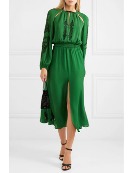 Cutout Embellished Silk Crepe Midi Dress by Dundas