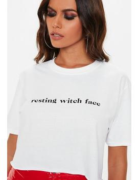 White Resting Witch Face Cropped Top by Missguided