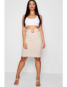 Mock Horn Buckle Midi Skirt by Boohoo