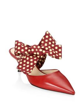 Point Toe Mules With Bow by Prada