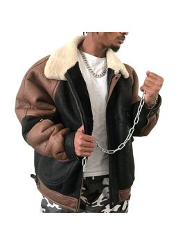 Shearling B3 / A2 Jacket Sheepskin Coat Black And Brown Cream Fur Collar Fully Lined by Etsy