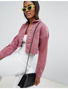 chaqueta-vaquera-corta-en-rosa-de-missguided by asos
