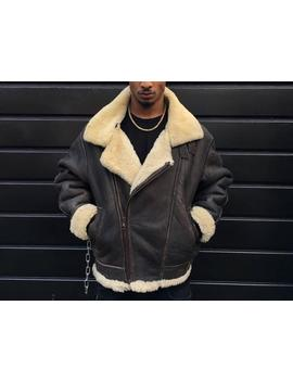 B3 Shearling Bomber Jacket Dark Brown With Cream Sheepskin Fur Lining Diagonal Zip by Etsy