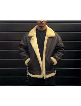 B3 Shearling Bomber Jacket Vintage Sheepskin Coat Brown With Cream Fur Collar And Lining by Etsy