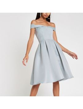 Chi Chi London Blue Bardot Neck Prom Dress by River Island
