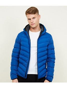 Blue Lightweight Hooded Puffer Jacket by New Look