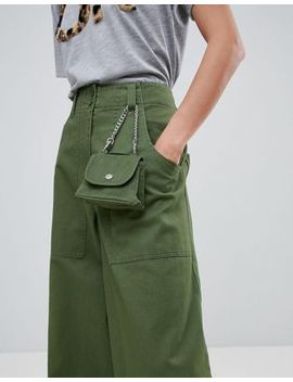 Asos Design Wide Leg Pants With Detachable Bag In Khaki by Asos Design