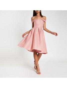 Chi Chi London Pink Bardot Neck Prom Dress by River Island