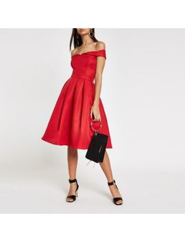 Chi Chi London Red Bardot Neck Prom Dress by River Island