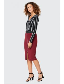 Textured Zip Through Midi Skirt by Select