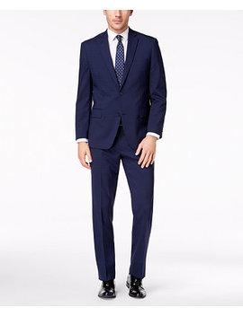 Closeout! Michael Kors Men's Classic Fit Blue Check Suit by Michael Michael Kors