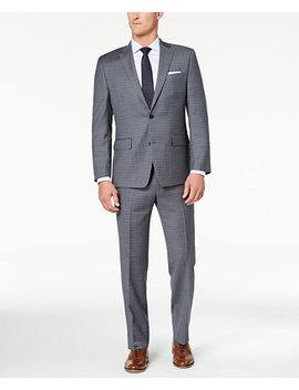 Closeout! Men's Classic Fit Light Gray/Blue Grid Suit by Michael Kors
