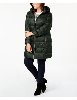 Plus Size Hooded Puffer Coat by Michael Michael Kors