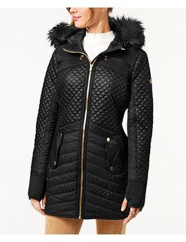 Faux Fur Trim Quilted Coat by Michael Michael Kors