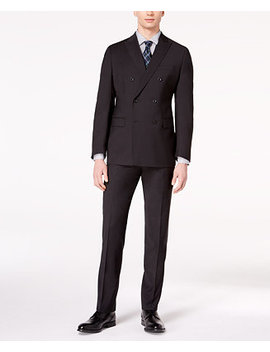 Closeout! Men's Classic Fit Black Textured Stripe Double Breasted Suit by Michael Kors