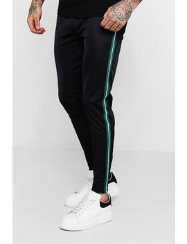 Tricot Jogger With Tape Detail by Boohoo