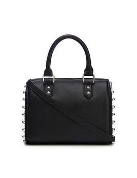 Faith   Black Stud Trim Bowler Handbag by Faith