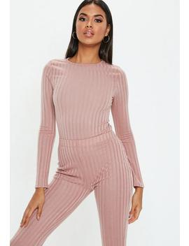 Rose Matte Ribbed Long Sleeve Bodysuit by Missguided