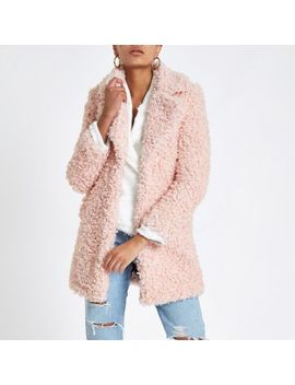 Pink Shearling Fur Longline Jacket by River Island