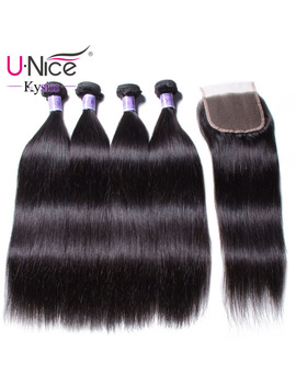U Nice Hair Kysiss Virgin Series Brazilian Straight Hair 4 Bundles With Closure 8 30 Inch 100 Percents Human Hair Weave Bundles by Unice