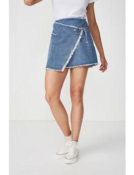 Wrap Denim Mini Skirt by Cotton On