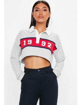 Grey Graphic Colour Block Rugby Shirt by Missguided