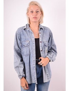 Womens Vintage Denim Shirt Medium Blue 90s by Messina Girl