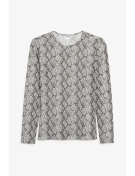 Long Sleeved Mesh Top by Monki