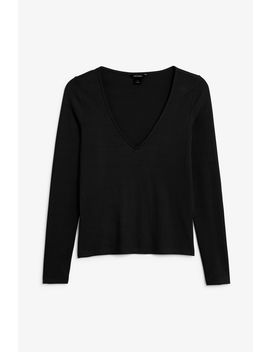Ribbed V Neck Top by Monki