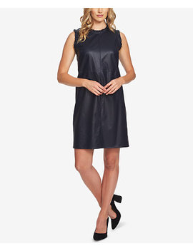 Faux Leather Ruffle Trim Dress by Ce Ce