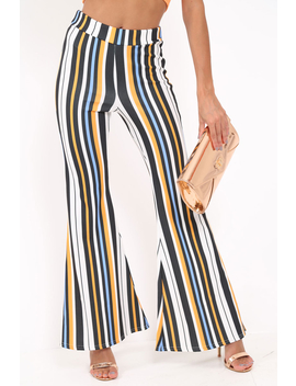 Black And Mustard Stripe Ribbed Flares   Chessa by Rebellious Fashion