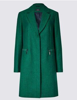 Wool Blend Herringbone Coat by 35 Days To Return