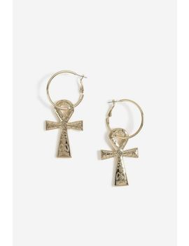 **Egyptian Enscribed Cross Earrings by Topshop