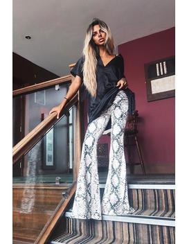 Snake Print Velvet High Waisted Flared Trousers   Kamryn by Rebellious Fashion