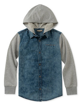 Big Boys Hooded Cotton Shirt by Calvin Klein