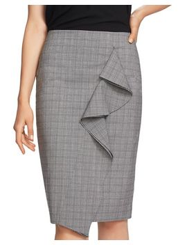 Ruffled Glen Plaid Pencil Skirt by 1.State
