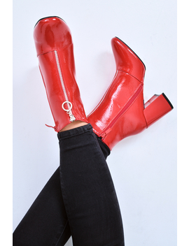 Red Patent Zip Front Ring Pull Block Heel Boots   Mischa by Rebellious Fashion