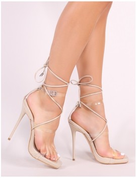 Lassie Lace Up Heels In Nude Patent by Public Desire