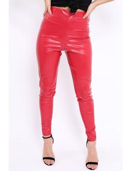 Matte Red Pu Leggings   Rio by Rebellious Fashion