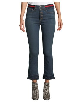 Carolyn Cropped Baby Boot Cut Jeans With Tuxedo Stripes by Veronica Beard