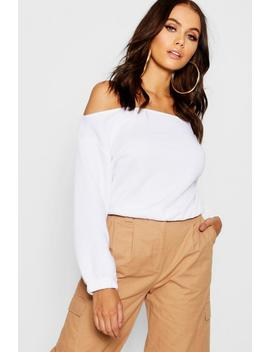 Slouchy Off The Shoulder Crop Sweat by Boohoo