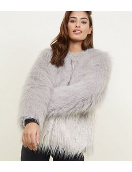 Light Grey Colour Block Faux Fur Coat by New Look