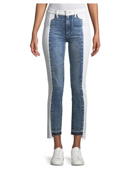 Hoxton Two Tone Straight Leg Cropped Jeans by Paige