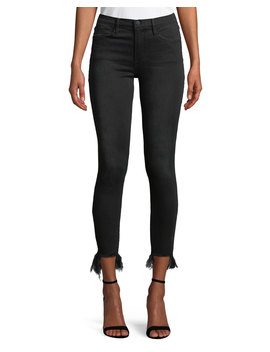 Le High Skinny Stiletto Jeans W/ Frayed Hem by Frame
