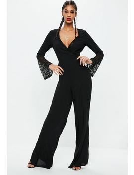 Tall Black Wrap Front Jumpsuit by Missguided